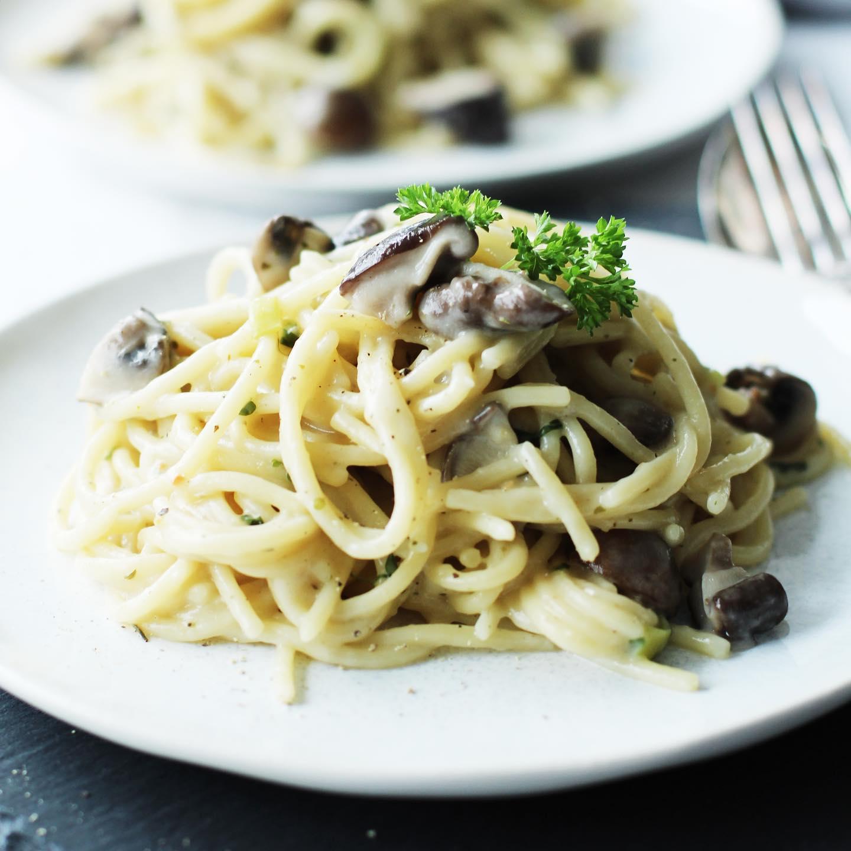 One Pot Pasta mit Pilzen